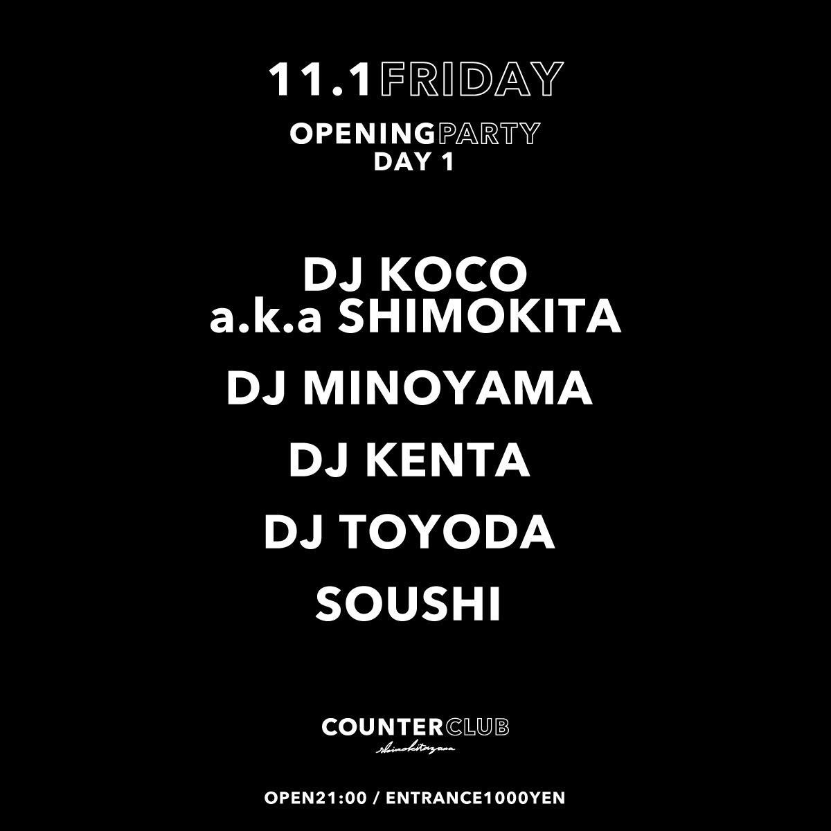 COUNTER CLUB Opening Party Day1