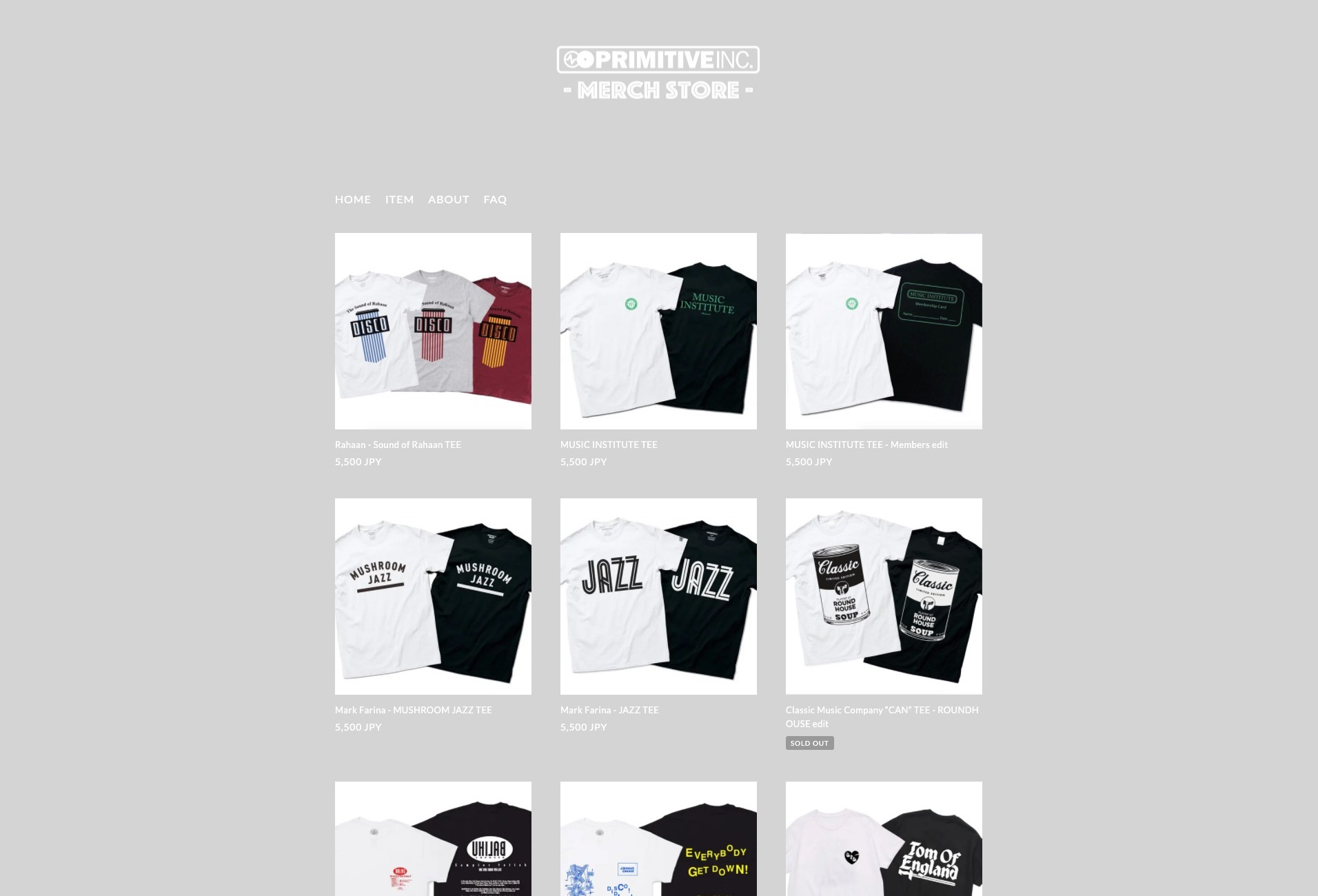 PRIMITIVE INC. MERCH STORE - primitive-inc-online.stores.jp